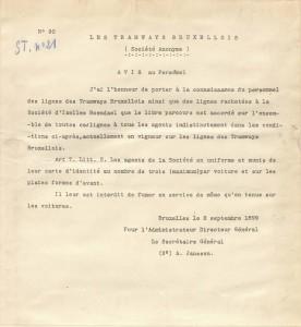 Avis au Personnel (2 septembre 1899)