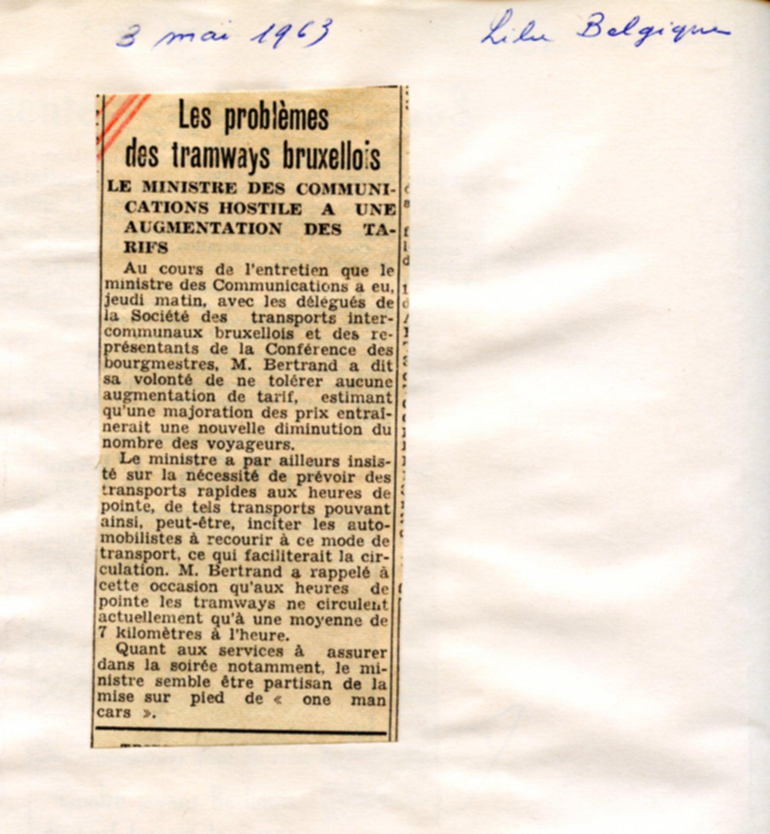 La Libre Belgique - 03/05/1963