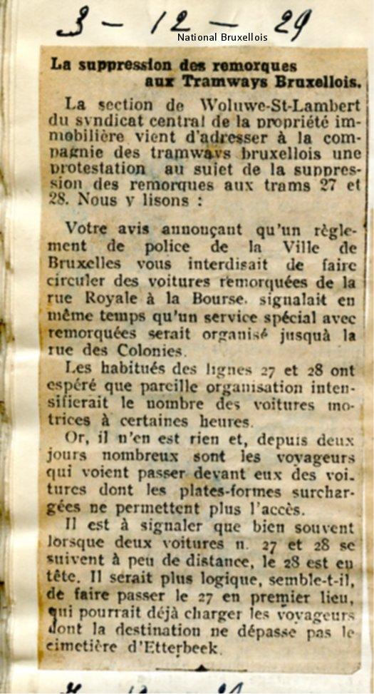 National Bruxellois - 03/12/1929